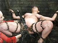 Juicy big titted bondage brunette Haydee gets smothered in a water tank