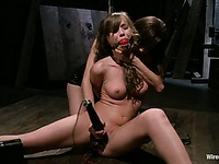 Brown haired ball gagged bondage cutie Capri Anderson gets punished naked by Princess Donna