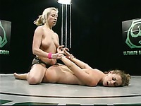 Wrestler Lola gets fucked hard from behind by sexy blonde winner Adrianna Nicole
