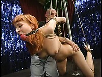 Pole dancer Kendra James strips naked then gets hogtied and vibrated by Rachel and RAM