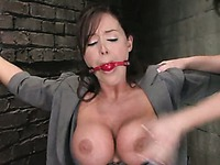 Penny Flame punishes massive tits and pussy of bound delicious slave girl Christina Carter