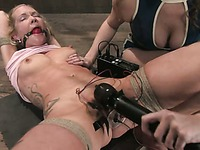 Lesbian blonde slave Rain DeGrey gets her helpless pussy drilled doggy style by dom Sabrina Fox