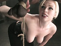 Blonde domina Adrianna Nicole is very curious about cock and ass of her dark slave Jeff Sinclaire