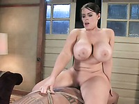Curvy massive titted domina Daphne Rosen sucks and fucks her slave Lobo