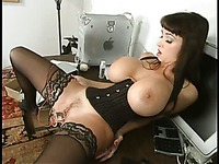 Busty brunette in nylons Summer Cummings gets her shaved pussy used by blonde domina