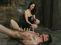 Horny dominatrix Kendra James attacks helpless ass of her slave Richie Rennt