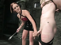 Domina Sara Faye is very curious about juicy cock of tied up guy Nomad
