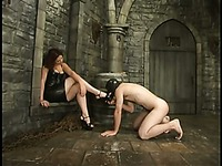 Hairy chested masked slave man Jack gets abused by sexy dressed redhead domina Venus May