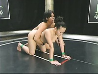 Dragon Lily and Chyna White wrestle attacking each others shaved tight pussies