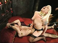 Judas and Elliot Skellington get suspended upside down and spanked by Mika Tan and Lorelei Lee