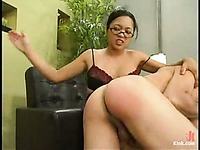 Strict four-eyed asian Mika Tan punishes obedient Sebastian showing no mercy
