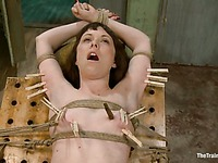 Master loves to play with helpless nude body of rope tied bondage girl Seda