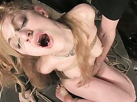 Slave blonde Tawni Ryden takes sturdy cock of master Steven St. Croix with her latex outfit on