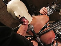 Well-endowed bondage girl Trina Michaels gets impaled on cock by Maestro after torture