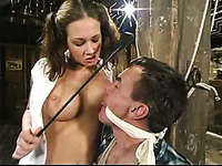 Hot big titted domina Tory Lane plays with cock and balls of bound slave man Wild Bill