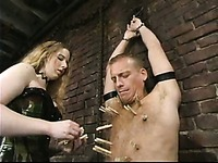Princess Kali dressed is curious about punishing naked slave guy Dick Richards