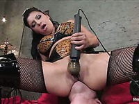 Sativa Rose makes Nomad lick her smooth pussy and then dildo fucks his ass
