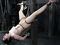 Bound Marina gets tortured after mistress Sister Dee punishes her bare feet and pussy