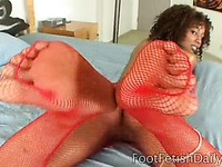 Black dude admires lovely feet of ebony Misty Stone before having sex with hot girl