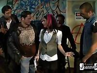 Slutty chick Joanna Angel gets gangbanged by her slutty alternative friends