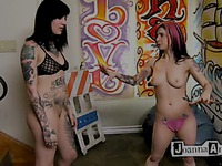 Tattooed Joanna Angel and her alternative best friend get naked just for fun