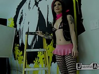 Alt hottie Joanna Angel in pink mini skirt gets her pussy stuffed from behind