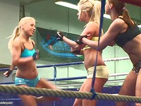 Three hot bodied girls in uniform Andy Brown, Carla Cox and Nikky Thorne get the fight started