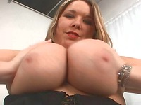 Busty BBW hottie Ivy 36F takes off her thong panties and gets penetrated
