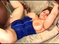 Big titted plump latina girl Karla Lane in blue corset enjoys interracial sex with black dude