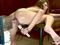 Alluring Allie Haze with small tits and shaved tight pussy gets banged by sex machine
