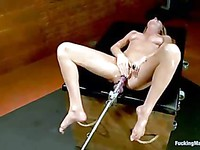 Sexy bodied screaming chick Brynn Tyler gets her tight pussy and ass dildoed at the same time