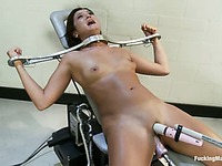 Attractive CeCe Stone with long legs and big tits gets her smooth pussy used by fucking machine