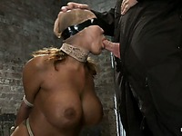Curvy big boobed slave milf Ava Devine gets rope tied and throat fucked by master