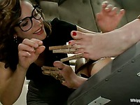 Blonde slave Courtney Taylor gets her pussy fisted and her ass dildoed by brunette Bobbi Starr