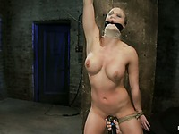 Naked blond slave Holly Heart with smooth snatch, nice ass and juicy tits gets humiliated by master