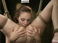 Two nude slave chicks Iona Grace and Krysta Kaos get their tight bodies punished