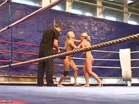 Two blondes Kathia Nobili and Brandy Smile turn real fight into lesbian action
