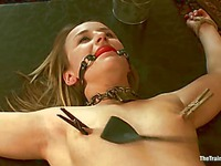 Naked young chick Jessie Coxxx gets humiliated in front of other slave girls