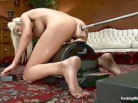 Shaved perfect bodied milf Puma Swede with big round boobs rides the sybian