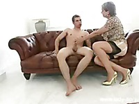 Big jugged mom Lady Sonia in black stockings with white garter belt gets impaled on cock