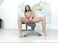Long haired brunette Cate Harrington with neatly shaved snatch rides the sybian
