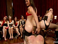 Bobbi Starr, Aiden Starr, Kimberly and Maitresse Madeline punish men at femdom party