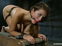 Allie Haze gets gagged and restrained before master inserts his dick in her pussy