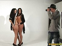 Emma Butt teams up with another model to play with photographer's hard dick
