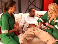 Laura Hernandez and another paramedic in green uniform examine dude's tiny dick