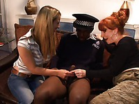 Black man in uniform gets his tiny dick touched by mom Red XXX and fair-haired girl