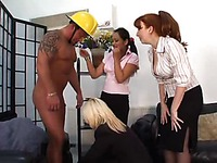 Small dick guy takes off his uniform and briefs in front of Sally Taylor and other ladies