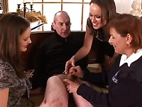 Police lady Wendy Taylor strokes tiny dick of a burglar in front of two girls