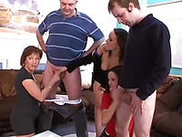 Men get their dicks out to compare in front of Wendy Taylor and two more curious women