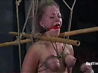 Far-haired slave lady Dia Zerva gets tied up before domina removes her clothes